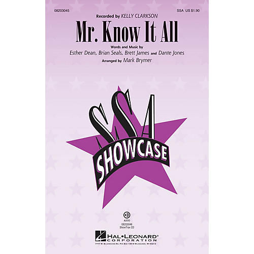 Hal Leonard Mr. Know It All ShowTrax CD by Kelly Clarkson Arranged by Mark Brymer