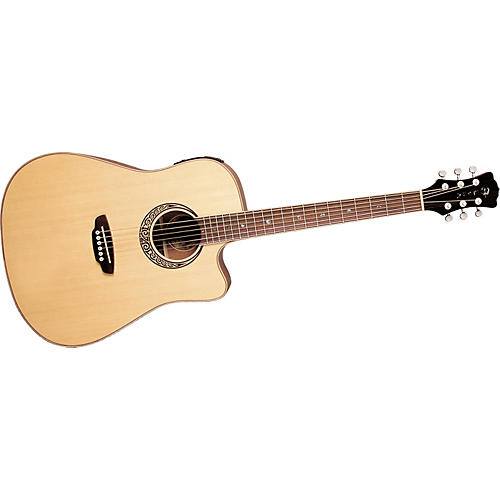 Luna Guitars Muse QA Quilted Ash Dreadnought Cutaway Acoustic-Electric Guitar