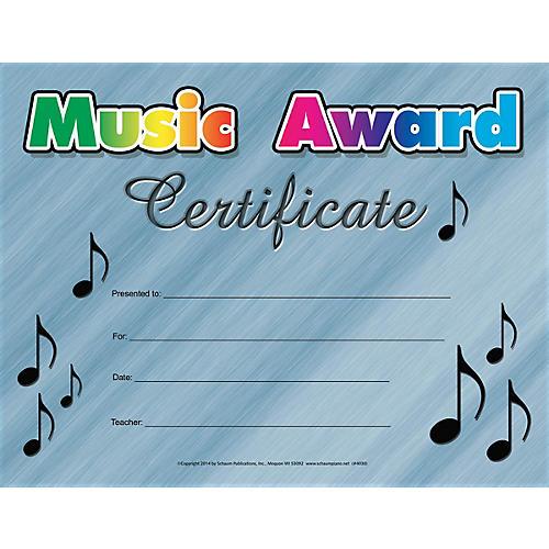 SCHAUM Music Award Certificate Educational Piano Series