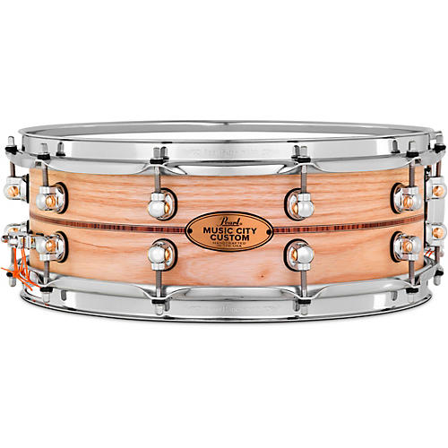 Pearl Music City Custom Solid Shell Snare Ash with Boxwood-Rose Inlay 14 x 5 in.