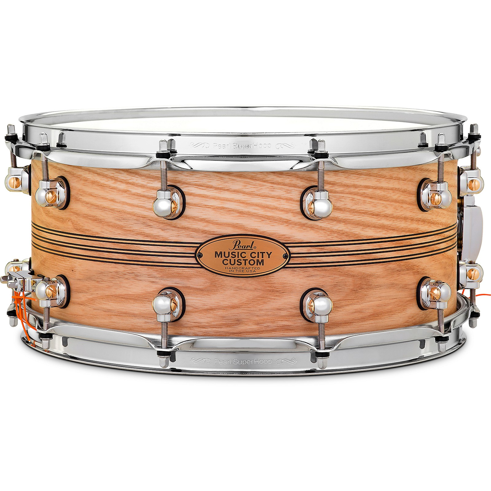 Pearl Music City Custom Solid Shell Snare Ash with Boxwood-Rose TriBand Inlay