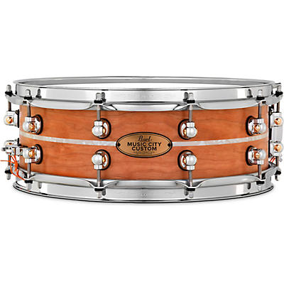 Pearl Music City Custom Solid Shell Snare Cherry with Nicotine Marine Inlay