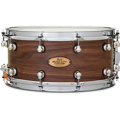 Pearl Music City Custom Solid Shell Snare Walnut in Hand-Rubbed Natural Finish 14 x 6.5 in.
