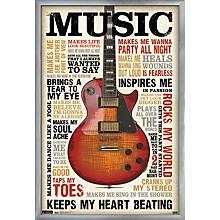 Music Inspires Me Poster Framed Silver