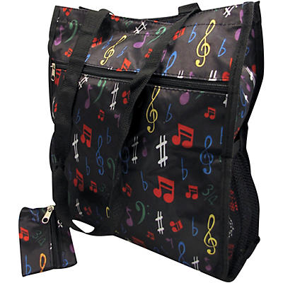 AIM Music Notes Satin Zip To Tote Bag With Change Purse - Black