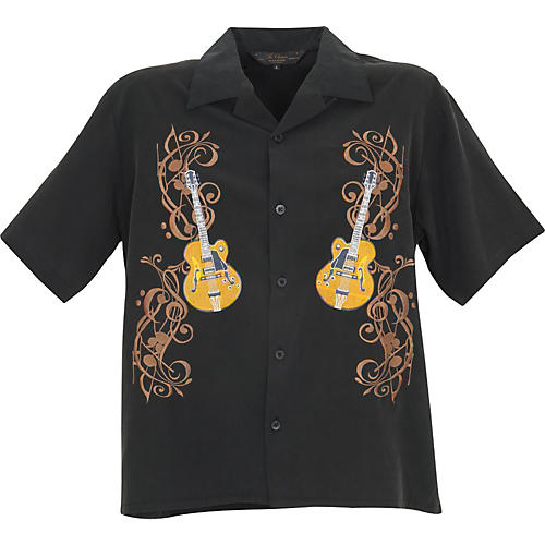 Rock House Los Angeles Musical Notes Men's SS Modal Button Down Shirt