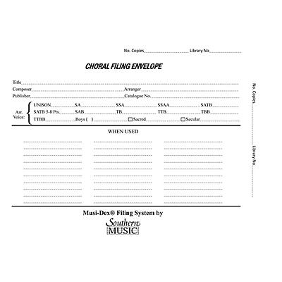 Southern Musidex Choral Filing Envelopes