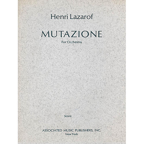 Associated Mutazione (1967) (Full Score) Study Score Series Composed by Henri Lazarof