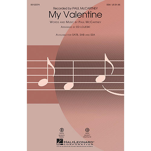 Hal Leonard My Valentine SSA arranged by Ed Lojeski