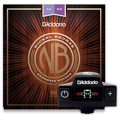 D'Addario NB1152 Nickel Bronze Custom Light 3-Pack Acoustic Strings and NS Micro Soundhole Tuner with Color Screen