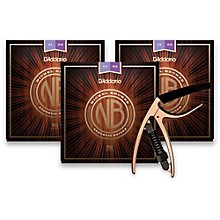 D'Addario NB1152 Nickel Bronze Custom Light 3-Pack Acoustic Strings and NS Reflex Capo Antique Bronze
