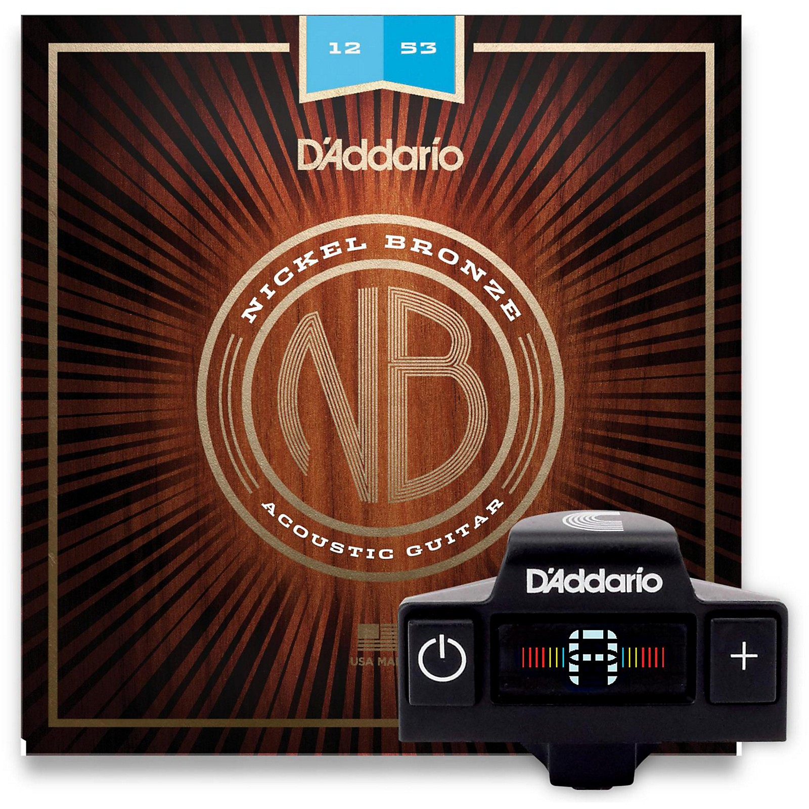 D'Addario NB1253 Nickel Bronze Light 3-Pack Acoustic Strings and NS Micro Soundhole Tuner w/ Color Screen