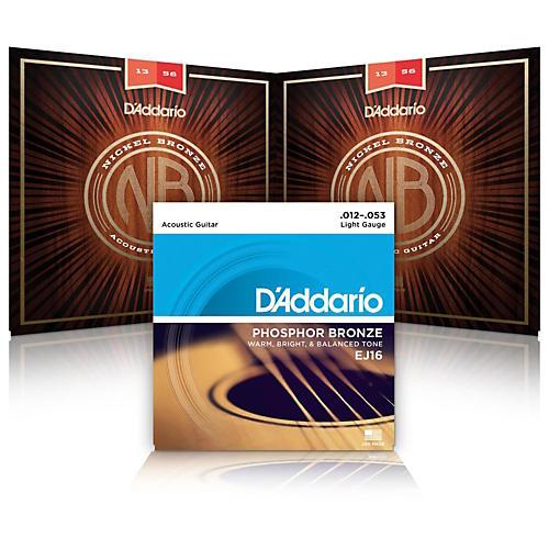D'Addario NB1253 Nickel Bronze Light Acoustic Strings 2-Pack with EJ16 Phosphor Bronze Light Single-Pack