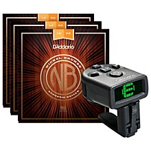 D'Addario NB1256 Nickel Bronze Light Top Med Bottom Acoustic Strings 3-Pack with FREE NS Micro Headstock Tuner