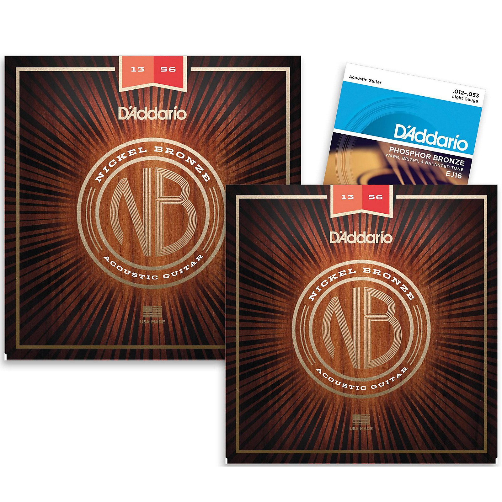 D'Addario NB1356 Nickel Bronze Medium Acoustic Strings 2-Pack with EJ16 Phosphor Bronze Light Single-Pack