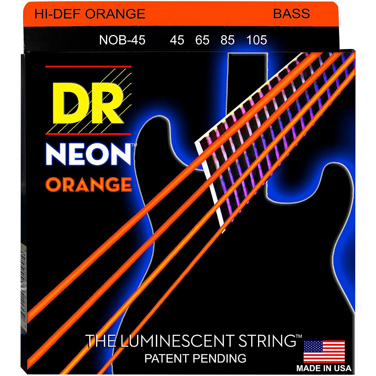 DR Strings NEON Hi-Def Orange Bass SuperStrings Medium 4 String