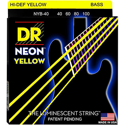 DR Strings NEON Hi-Def Yellow Bass SuperStrings Light 4-String