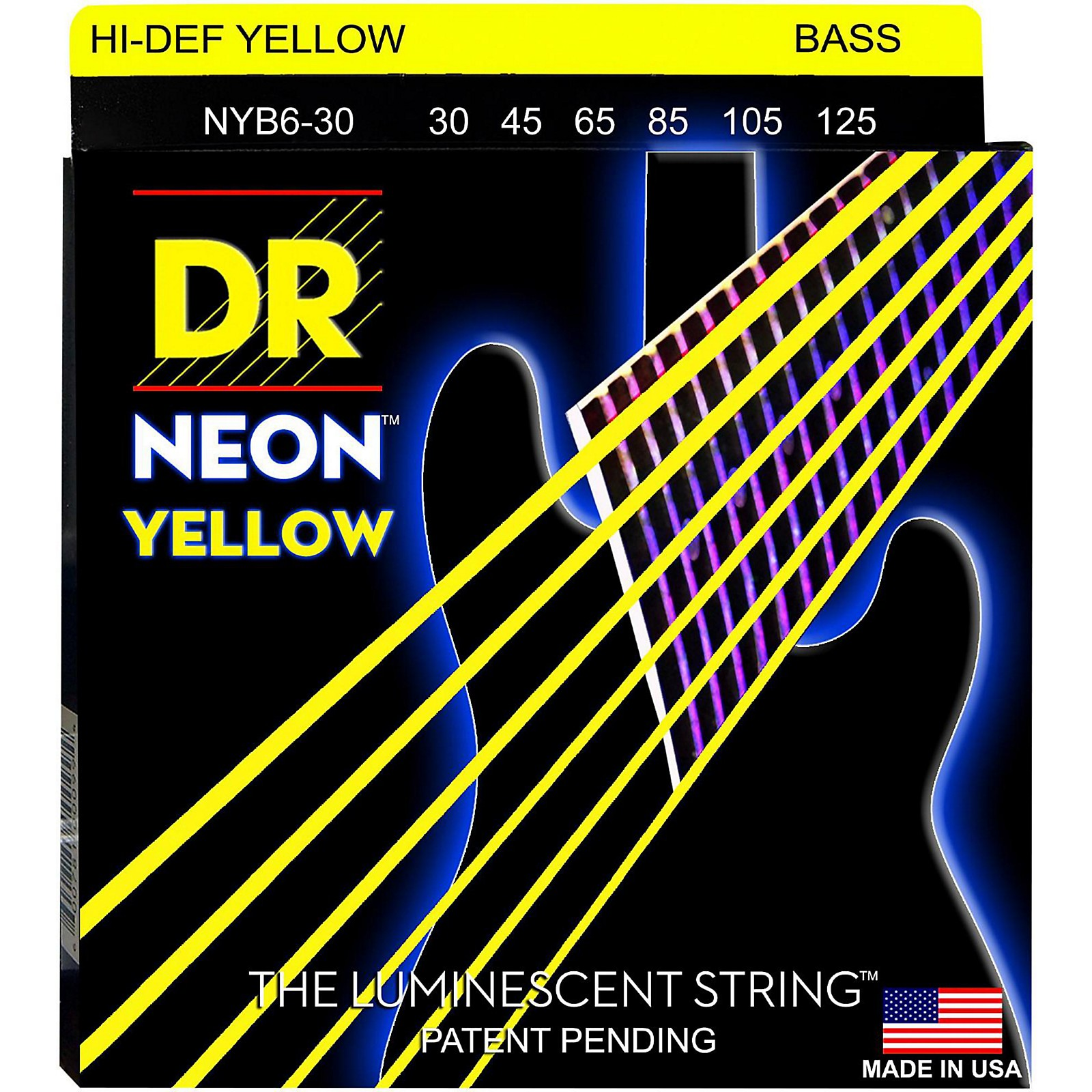 DR Strings NEON Hi-Def Yellow Bass SuperStrings Medium 6-String