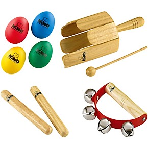 Nino NP-3 Percussion Pack with 4-Piece Egg Shaker Set, Wood Stirring Drum,  Claves and Free Sleigh Bells