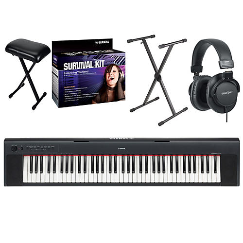 Yamaha NP31 76-Key Portable Digital Piano with Yamaha D2 Survival Kit, Bench, Stand, & Headphones