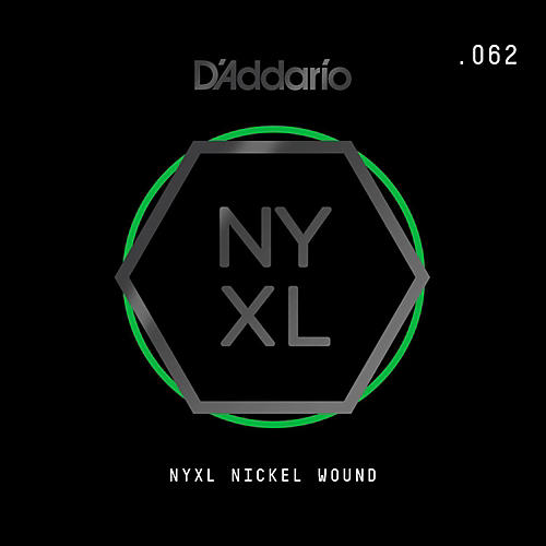 D'Addario NYNW062 NYXL Nickel Wound Electric Guitar Single String, .062