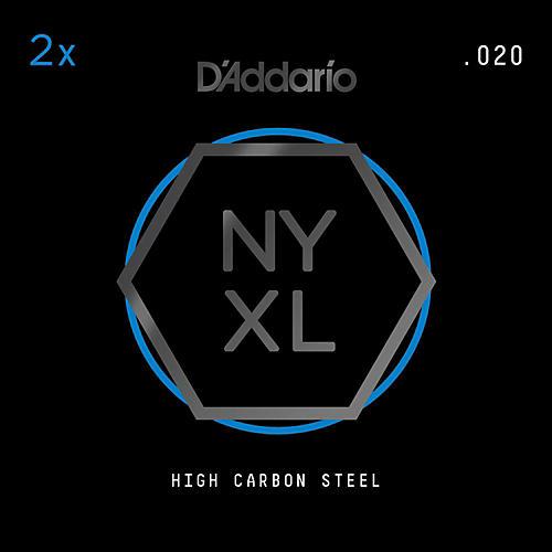 D'Addario NYPL020 Plain Steel Guitar Strings 2-Pack, .020