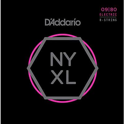 D'Addario NYXL0980 8-String Super Light Nickel Wound Electric Guitar Strings (09-80)