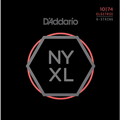 D'Addario NYXL1074 8-String Light Top/Heavy Bottom Nickel Wound Electric Guitar Strings (10-74)