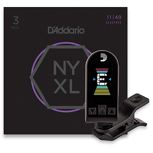 D'Addario NYXL1149 Medium 3-Pack Electric Guitar Strings and Equinox Headstock Tuner