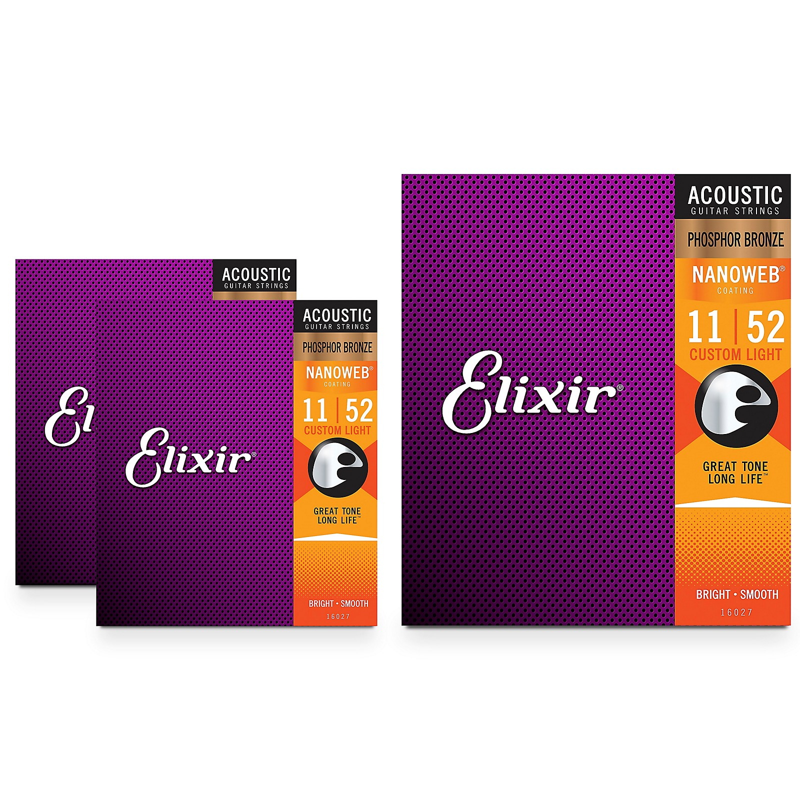 Elixir Nanoweb Custom Light Phosphor Bronze Acoustic Guitar Strings 3 Pack