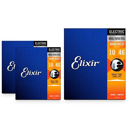 Elixir Nanoweb Electric Guitar Strings, Light (10-46) 3-Pack