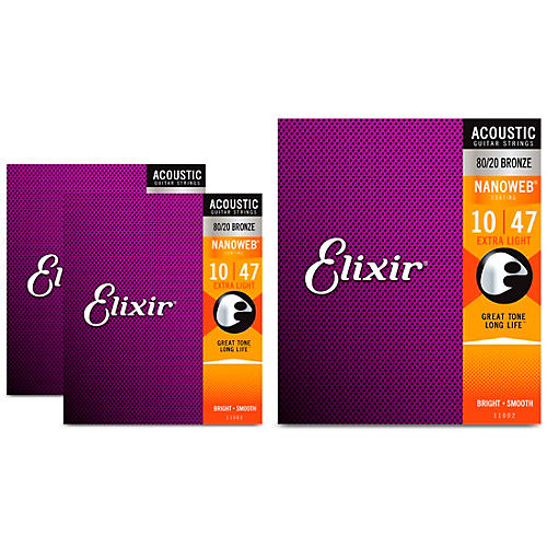 Elixir Nanoweb Extra Light Acoustic Guitar Strings 3 Pack