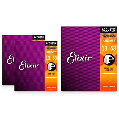 Elixir Nanoweb HD Light Phosphor Bronze Acoustic Guitar Strings 3 Pack