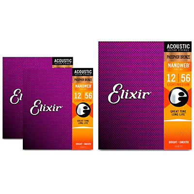 Elixir Nanoweb Light/Medium Phosphor Bronze Acoustic Guitar Strings 3 Pack