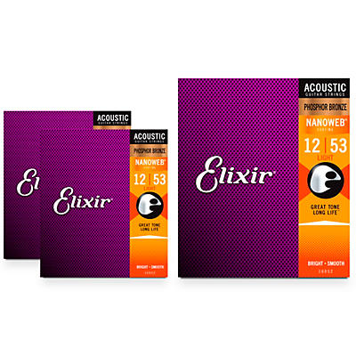Elixir Nanoweb Light Phosphor Bronze Acoustic Guitar Strings 3 Pack