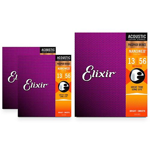 Elixir Nanoweb Medium Phosphor Bronze Acoustic Guitar Strings 3 Pack