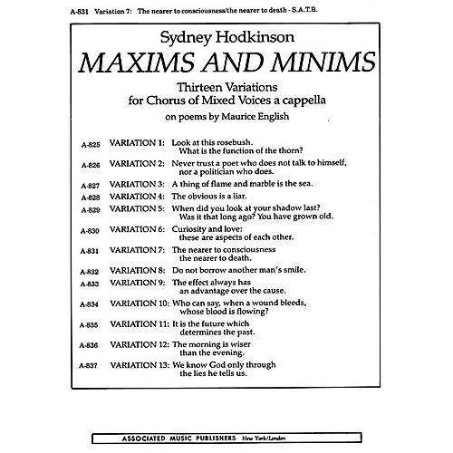 Associated Nearer To Consciousness Var 7the Nearer To Death (From Maxims And Minums) SATB by Sydney Hodkinson
