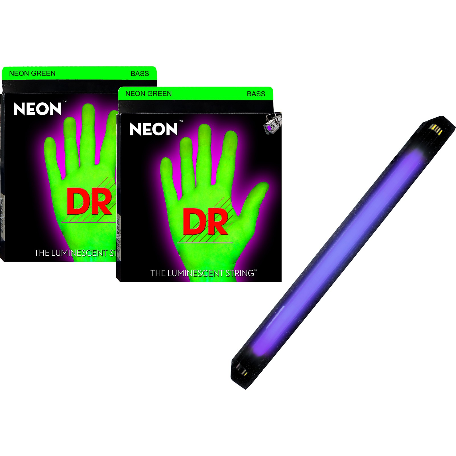 DR Strings Neon Phosphorescent Green Medium 5 String Bass Strings with Free American DJ Super Black Light