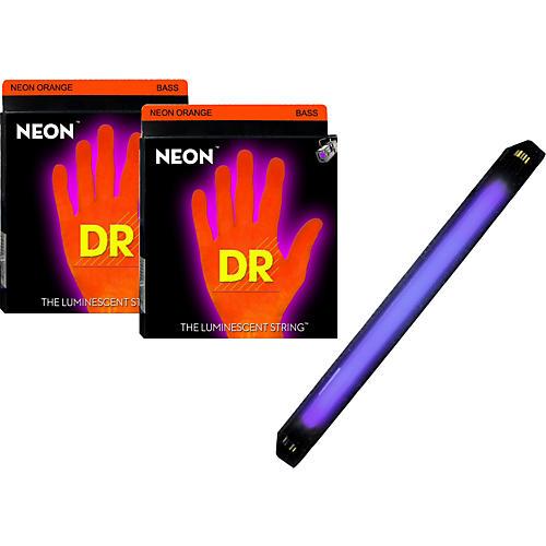 DR Strings Neon Phosphorescent Orange Medium 5 String Bass Strings with Free American DJ Super Black Light