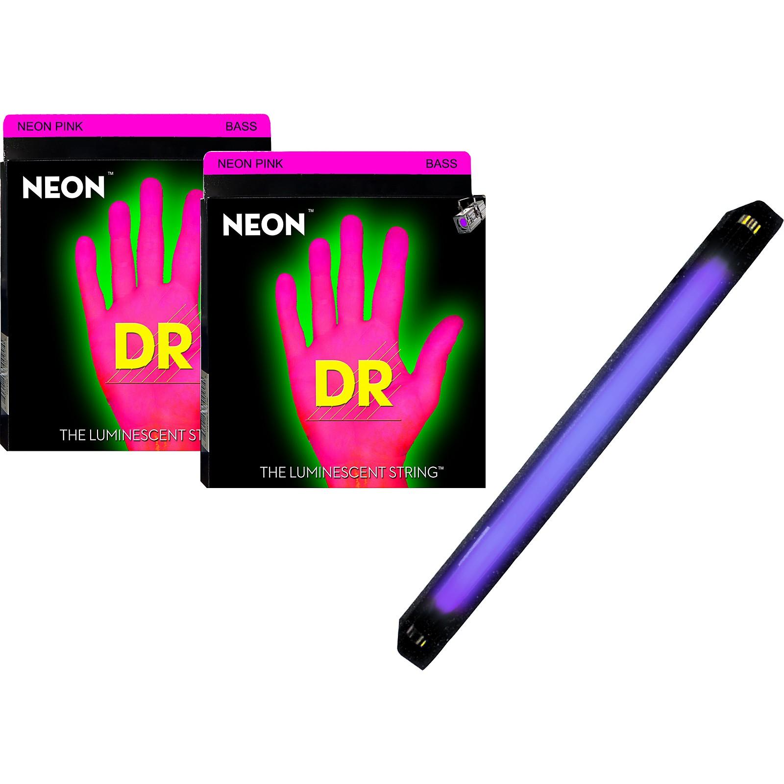 DR Strings Neon Phosphorescent Pink Medium 4 String Bass Strings with Free American DJ Super Black Light