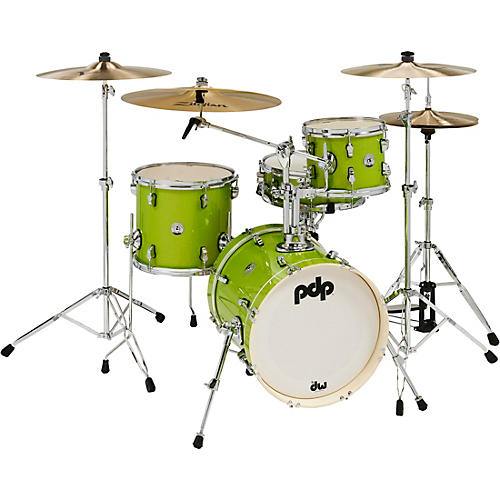 PDP by DW New Yorker 4-Piece Shell Pack w/ 16 in. Bass Drum Electric Green Sparkle