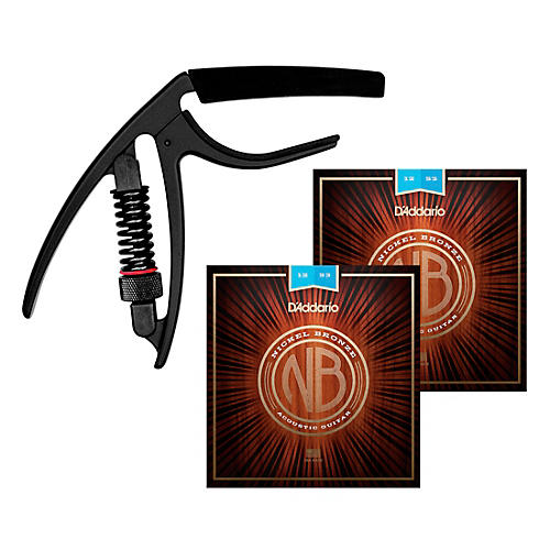 D'Addario Nickel Bronze Light Acoustic Strings (2 Sets) with Reflex Capo