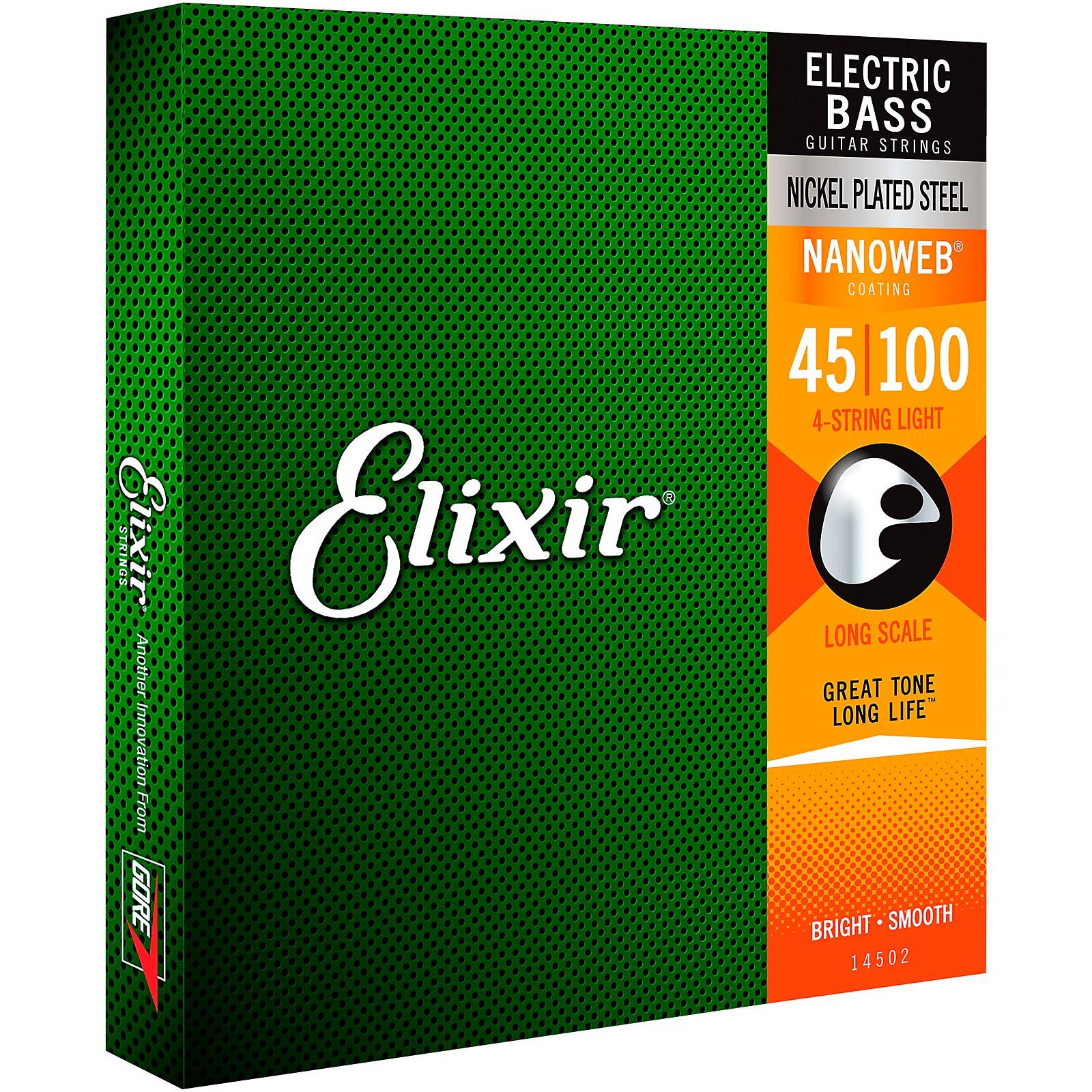 Elixir Nickel-Plated Steel 4-String Bass Strings with NANOWEB Coating, Long Scale, Light (.045-.100)