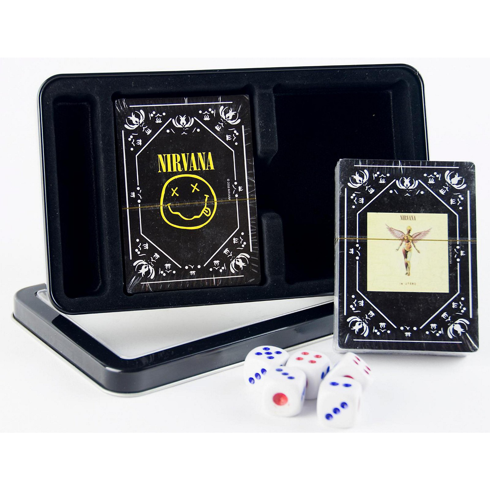 Iconic Concepts Nirvana Double Deck Playing Card Set with Dice - In Utero Cover and Nirvana Smiley in Tin Box