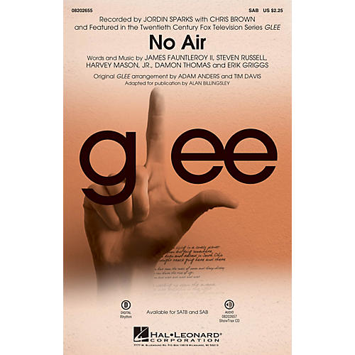 Hal Leonard No Air (from Glee) SAB by Chris Brown arranged by Adam Anders