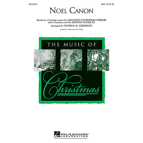 Hal Leonard Noel Canon 3 Part Treble Arranged by Patrick Liebergen