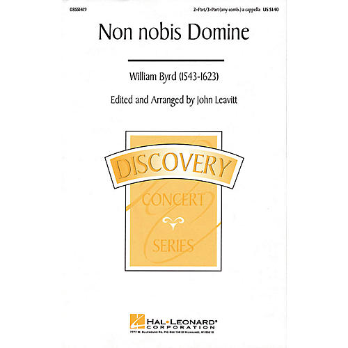 Hal Leonard Non Nobis Domine (2-Part/3-Part a cappella) 2 Part / 3 Part A Cappella arranged by John Leavitt