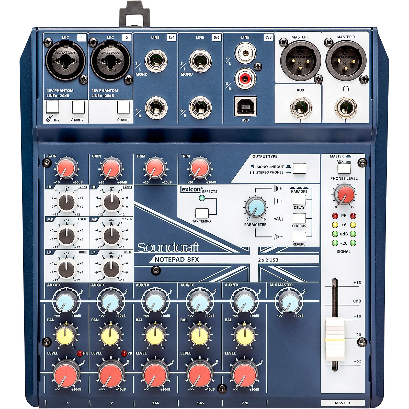 Open Box Soundcraft Notepad-8FX Small Format 8 Channel Analog Mixer w/ USB I/O & Effects ...