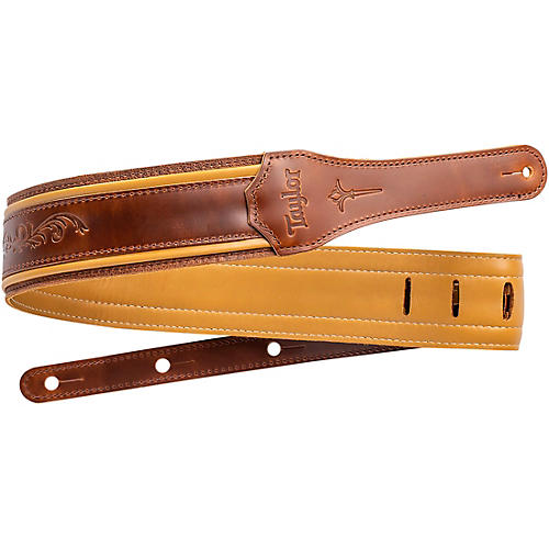 Taylor Nouveau Leather Guitar Strap Distressed Brown 2.5 in.