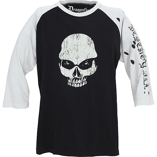 Dragonfly Clothing Now Skull Men's Raglan T-Shirt